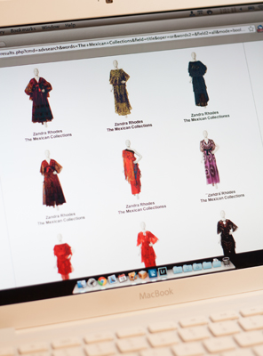 Browsing The Mexican Collections by Zandra Rhodes, 1976-1978, on the VADS test website.