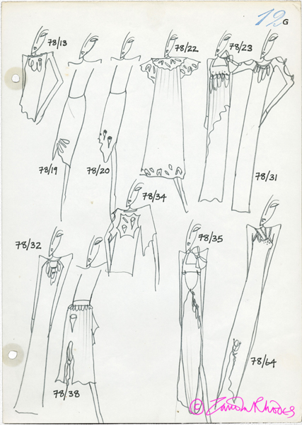 Page from the Zandra Rhodes Style Bibles, showing The Conceptual Chic Collection, 1977-8 © Zandra Rhodes 2012