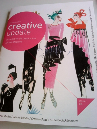 Zandra Rhodes watercolour on the front cover of UCA Alumni Magazine, Summer 2013.